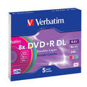 Verbatim Colours - 5 x DVD+R DL - 8.5 GB ( 240min ) 8x - blue, yellow, purple, green, pink - slim jewel case