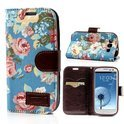 JavuCase - Samsung Galaxy S3 - Wallet Case Hoesje Roses Blauw