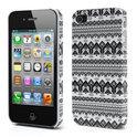 iPhone 4 en 4S back cover hoesje - fashionable bescherm hoesje met zwart-witte aztek print