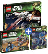 LEGO Starwars voordeelbundel: Z-95 Headhunter 75004 + BARC Speeder with Sidecar 75012 + AT-RT 75002