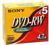 Sony DVD-RW 120min/4,7GB 5 stuks in jewelcase