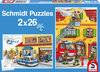 Schmidt Puzzels - Brandweer en Politie (2x26 Stukjes)