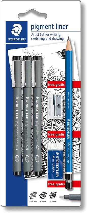 STAEDTLER Pigment liner fineliner - blister 3 st + promo in Spijkert