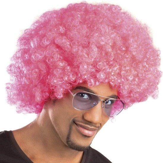Pruik Afro roze in Bullenkamp