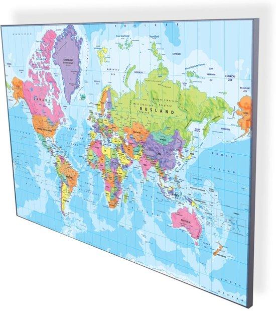Design Whiteboard Wereldkaart magnetisch en schrijfbaar 90x60cm in Wagnelée