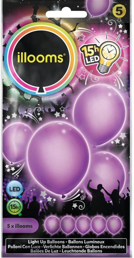 Illooms LED Ballonnen Paars - 5 Stuks in West Geesteren