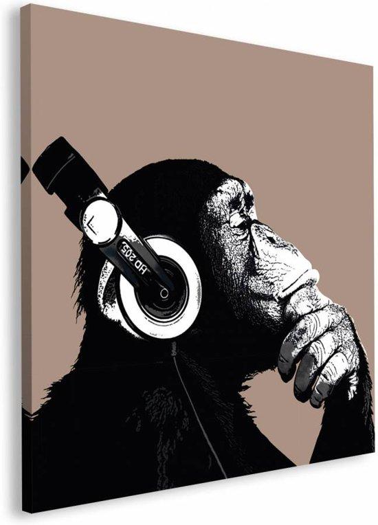 Reinders schilderij the chimp stereo deco block 90 x 90 cm no 22935 - Deco schilderij slaapkamer kind ...