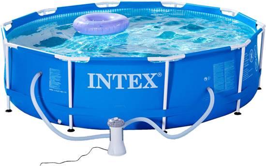 Intex metal frame zwembad met filterpomp 305cm for Filterpomp zwembad intex