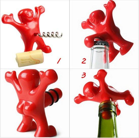 Rode Keukenapparaten : bol.com Rode Happy Man Bier flesopener + Wijn opener + fles stopper