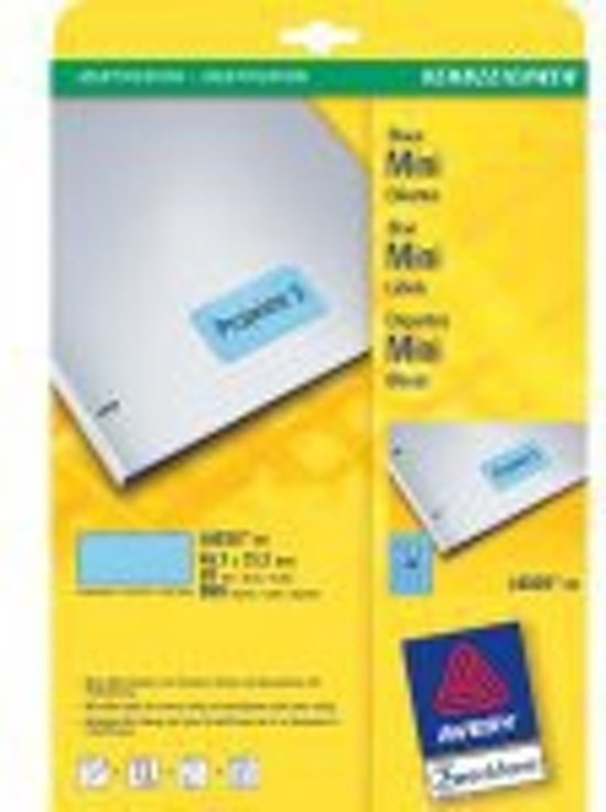 Avery Mini-labels, Blue 45,7 x 21,2mm (20)