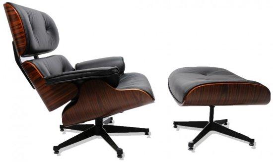 Luxe lounge chair met voetenbank zwart leer - Houtkleur zwart ...