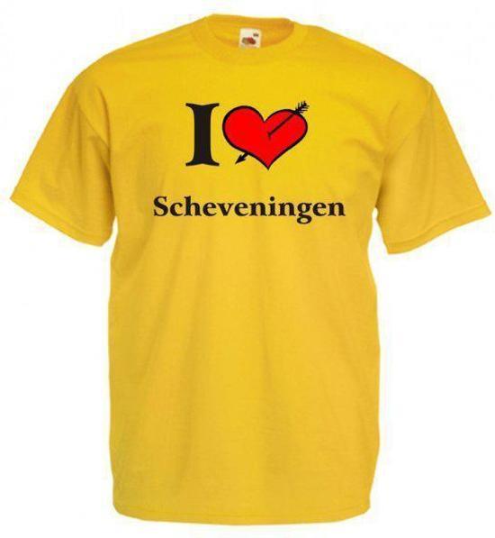Mijncadeautje T-shirt Oker geel (maat S) - Scheveningen in Eelde-Paterswolde