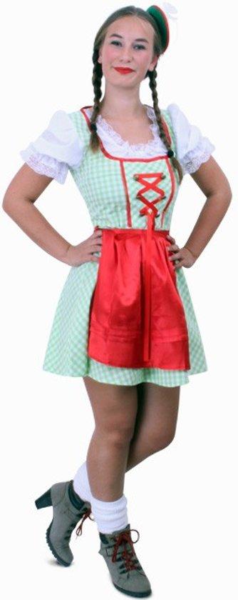 Tiroler jurk kort Sarah groen/wit mt.44 in Aan de Berg