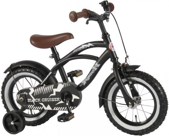 Yipeeh Black Cruiser - Kinderfiets - 12 inch - Jongens - Zwart