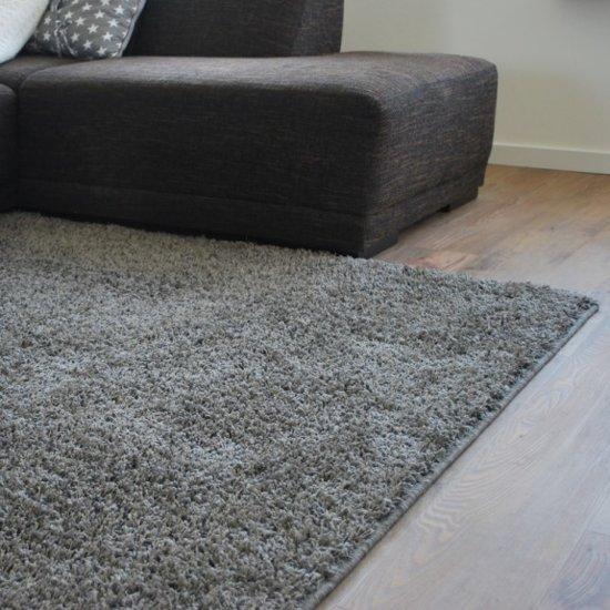Hoogpolig vloerkleed grijs taupe shaggy 160 x 240 cm wonen - Taupe en grijs ...
