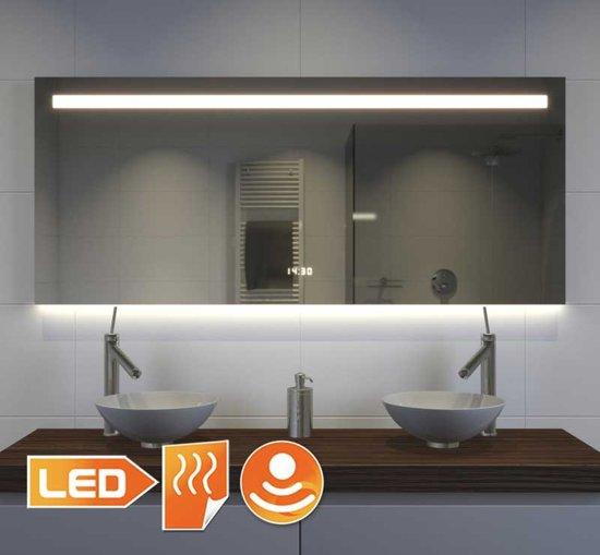 Brede design spiegel met klok verlichting en for Bol com verlichting
