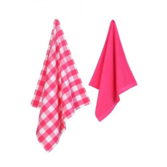 Jorzolino set uni ruit set keuken theedoek pink koken en tafelen - Roze keuken fuchsia ...