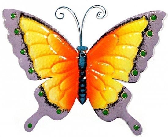 Decoratie vlinder geel paars 30 cm - Decoratie geel ...