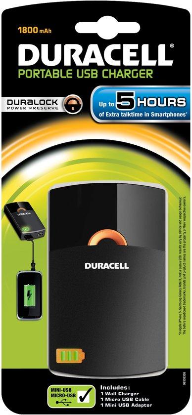 Duracell 5 uurs mobiele oplader - 1800 mAh