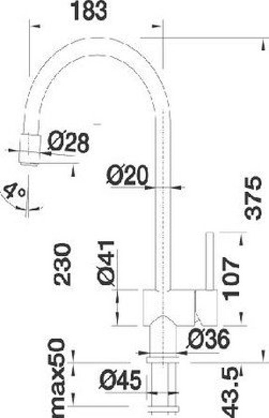 keukenkraan blanco filo s 512405 chroom klussen. Black Bedroom Furniture Sets. Home Design Ideas