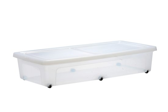 Iris clearbox onder het bed opbergbox 35 l kunststof transparant met zwarte wieltjes - Bed na capitonne zwarte ...