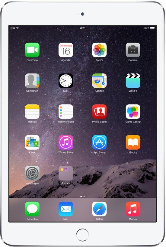 Apple iPad Mini 3 - 4G + WiFi - Wit/Zilver -  64GB - Tablet