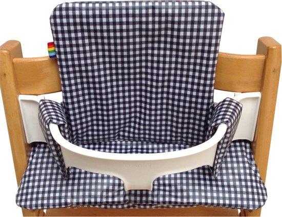geplastificeerd kussenset voor de tripp trapp kinderstoel van stokke ruitje marine blauw. Black Bedroom Furniture Sets. Home Design Ideas