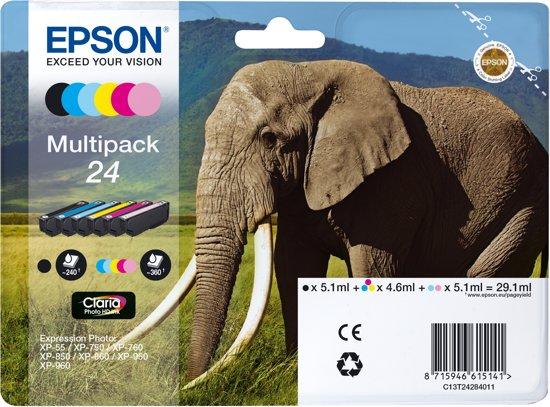 EPSON Claria  Inkt Cartridge 24 Foto HD inkt zwart en vijf kleuren standard capaciteit 29.1ml 1-pack blister zonder alarm