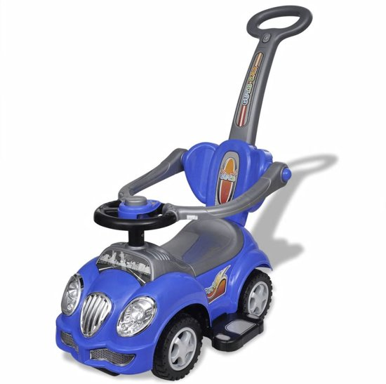 Loopauto met duwstang (blauw) in \'t Woud