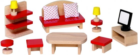 bol.com  Goki Houten poppenhuis woonkamer 13-delig  Speelgoed