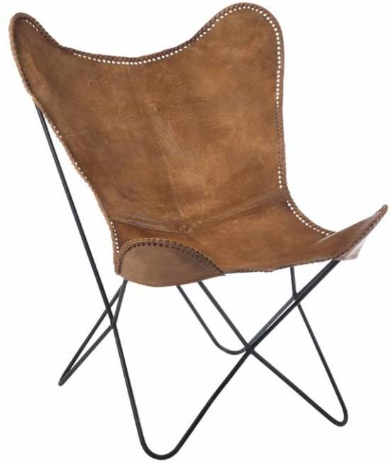 Duverger butterfly fauteuil bruin leer 71 x74x92cm - Zetel leer metaal ...