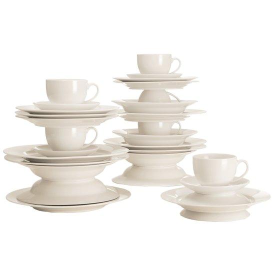 maxwell williams white basic rim koffie en dinerset 30 delig. Black Bedroom Furniture Sets. Home Design Ideas