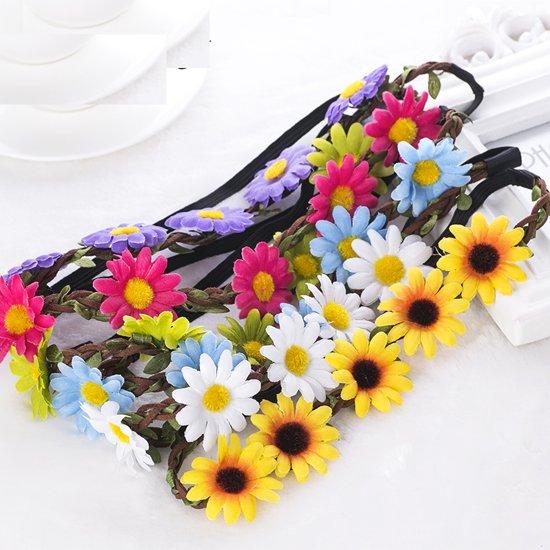 Fleurige Bloemen Haarband Set -  5 Stuks Multicolor -  Elastische Flower Hoofdband / Haarkrans / Strand Haarband / Ibiza Haarband - Voor Vrouwen / Meisjes in Wardin