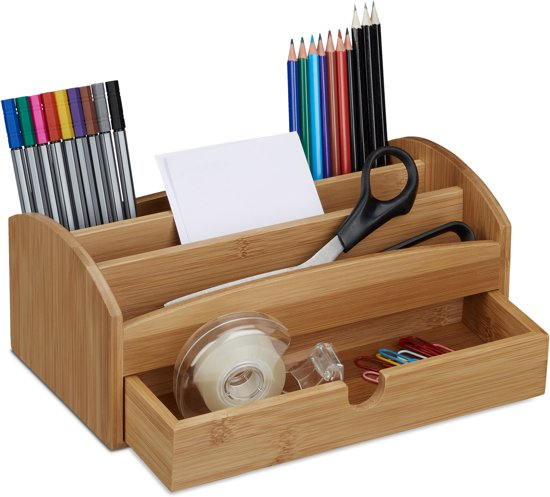 Relaxdays pennenbakje bamboe bureau organizer for Schreibtisch utensilo