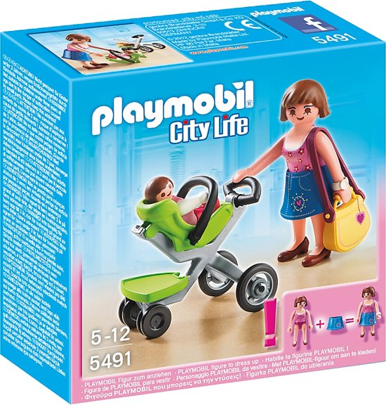 playmobil mama met kinderwagen 5491 playmobil. Black Bedroom Furniture Sets. Home Design Ideas