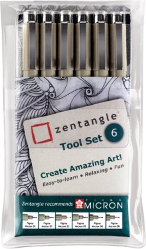 Zentangle Tool Set - Sakura Pigma Micron Fineliners - 6-delig in Leupegem
