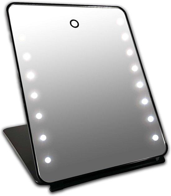 i pad make up spiegel zwart 16x led met touch sensor oplaadbaar via usb accu. Black Bedroom Furniture Sets. Home Design Ideas