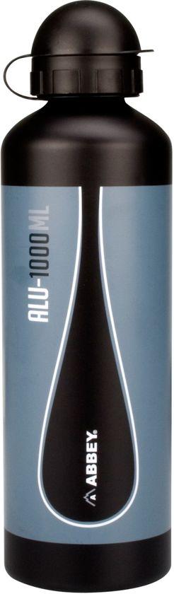 Abbey Camp Drinkfles Mat Aluminium - 1.0 Liter - Zwart/Antraciet/Wit - 1,00 L in Zwarte Ruiter