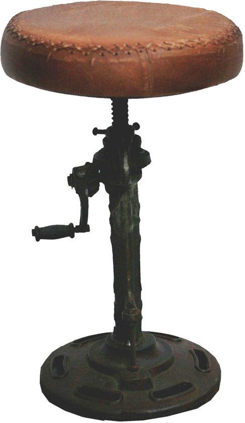 bol.com : Vintage - Barkruk Leer Verstelbaar 45-70Cm 1 Poot : Wonen