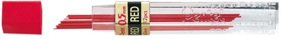 Pentel Vulpotlood Vulling   Potloodstift 0.5 mm Rood Buisje à 12 stiften in Sint-Agatha-Berchem