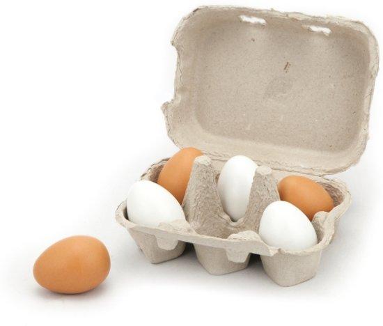 Houten Eieren - 6 Stuks in Bleid
