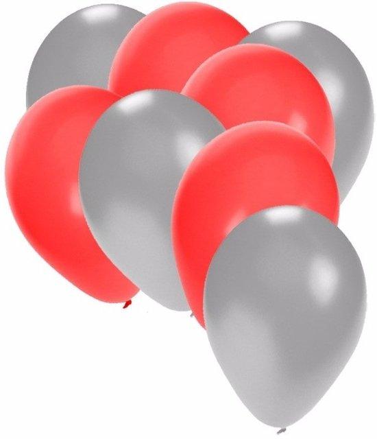 30x ballonnen zilver en rood in Groote Hoeven