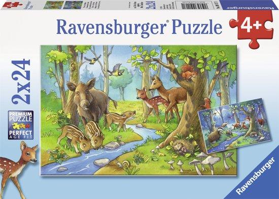 Ravensburger Dieren uit het bos - Twee puzzels van 24 stukjes in Gameren