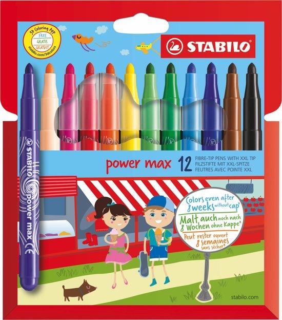 STABILO power max 12 Viltstiften - Etui in Kerkeind