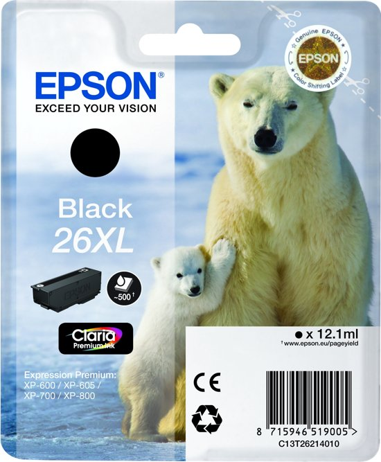 Epson 26XL (T2621) - Inktcartrigde / Zwart / Hoge Capaciteit