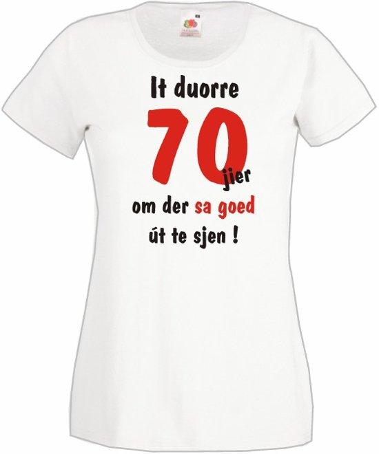 Mijncadeautje Frysl�n T-shirt It duorre 70 jier Dames WIT (maat M) in Oud Veeningen