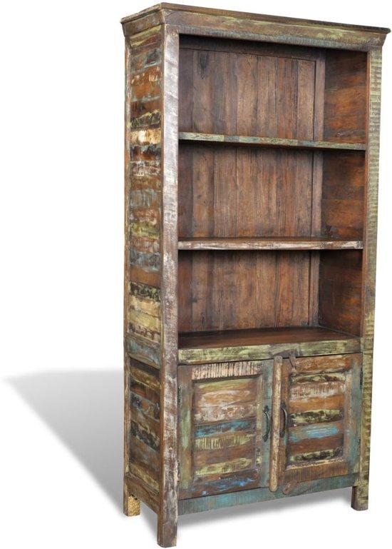 Boekenkast gerecycled hout met 3 planken en 2 deurtjes wonen - Boekenkast hout en ijzer ...