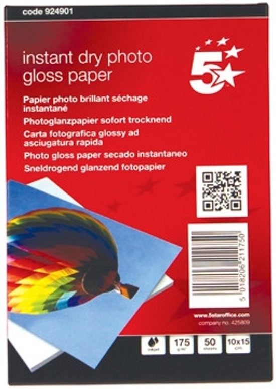 Glossy fotopapier 10 x 15 cm, 50 vel