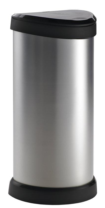 Curver Decobin Pushknop Afvalemmer - 40 l - Kunststof - Zilver Metallic