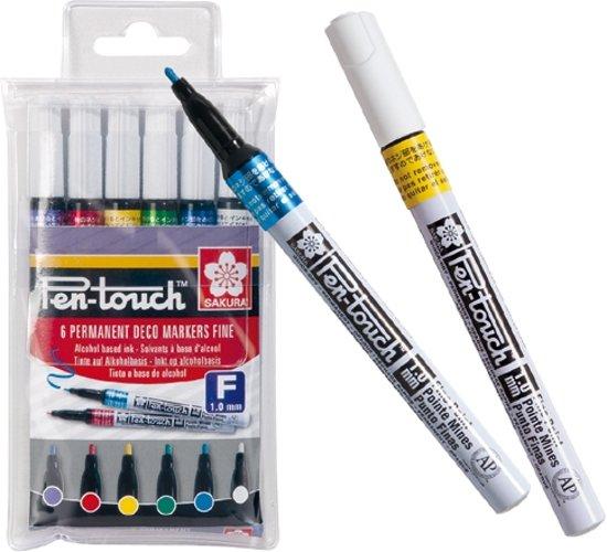 SAKURA Pen-Touch | Decoratiestiften met fijne punt (6 kleuren) in Overslingeland